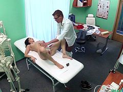 The doctor will make sure every part of Nikole's hot body is in working order. He is a highly trained professional when it comes to the bodies of sexy females. The doc runs his hands over her supple breasts and asks her to spread her legs, so he can check out her dripping wet vagina.
