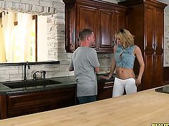Blonde Tony Rubino with round bottom lets dude shove his hard boner in her mouth