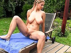 Blonde Katerina with huge boobs and bald snatch makes her lover shoot his load