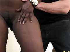 Tattooed black with phat bottom and hairless cunt knows no limits when it comes to eating her fuck buddys ram rod