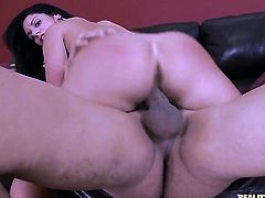 Bella Reese with round butt and hairless snatch gets her mouth fucked silly by fuck hungry guy