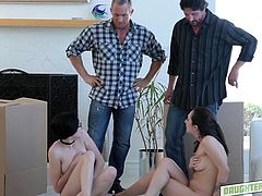 These two fathers were arguing, about whose daughter is smaller and which one of them can fit in a box. It turned out, that in this dispute no one won, but no one lost and that's why, everyone got his prize. Watch how they swapped their daughters and both got their dicks sucked... Hot foursome!