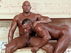Ok guys, get ready for a big dilemma. Do you wipe the drool off your face first, or the cum off your screen? You'll have both if you watch this scene, especially, if you're into big, beefy, black men, like I am.
