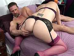 Fucking a salacious brunette in provocative lingerie