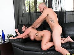 Tattooed Adella Skyy with big bottom and shaved beaver does lewd things and then gets her lovely face painted with man semen