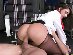 Ramon Nomar uses his rock solid pole to make blowjob addict Brunette Mischa Brooks with round butt and smooth snatch happy