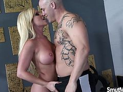 Blonde milf gets her pussy rubbed and fingered by her gym trainer She gives him a blowjob Then rides his dick in many positions He cums in her mouth