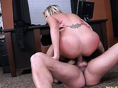 Tattooed Darcy Tyler with juicy melons and trimmed snatch loses control after she takes Ramon Nomars cock deep in her mouth