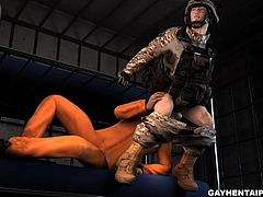 Handsome 3D cartoon hunk sucks cock and gives a rimjob before getting his tight ass fucked hard by a horny soldier