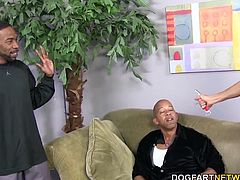 Shane Diesel and Boz rob Erica's house. The busty blonde MILF arrives home unexpectedly. Erica soon sucks and fucks both big black cock....