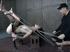 Ouch! That looks like it really hurts. The master has tied her up in a lot of wild positions before, but his favorite is when her legs are spread open wide. She gets the vibrator pressed firmly against her snatch. She is hard tied and at the master's mercy. He won't let her go so easily. She must endure.
