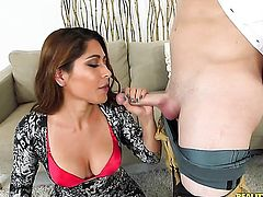 Brunette chachita with round ass and bald snatch getting face slammed for your viewing pleasure