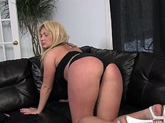 As she gets completely nude in front of the camera, this beautiful blonde chick will start to masturbate. She only left her white heels on and the only thing she needs now is a toy for her pussy.