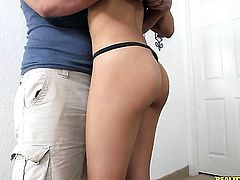 Horny as hell chicana honey can't resist guys stiff schlong and takes it in her mouth