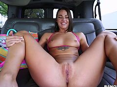Cute Evelin is in the backseat of the bangbus today and she is ready to take a big cock in her tight asshole. She is amazed by the size of his cock and she can't wait to get it deep inside her cooch. She is so happy she got picked up.