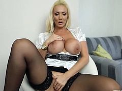 Big fake titties come out of her satin blouse to play