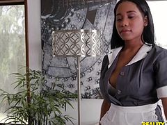 Beautiful black babe Tara goes beyond the job description in her work as a maid. She's so sizzling hot that her boss Derrick can't keep his eyes and his hands off her. Slipping out of her uniform, she spreads her smooth thighs, so he can penetrate her delicious cunt with his fingers and tongue.