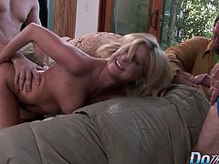 Blond MILF Lya Pink sucks a dick and gets her pussy licked and fingered in front of her husband. Then the guy fucks her pussy good and deep in many positions until she gets facialled.