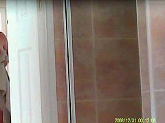 Mature curvy wife gets into shower