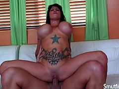 Sexy milf blows on a hard dick and gives a good tits fuck Then she gets her pusy pounded hard in many positions by the same cock The guy cums on her tits