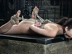 Melissa is unruly, mouthy, and utterly disobedient. Her executor doesn't have to torture her very much though. All he has to do is tie her up and grab her by the throat a little, and she's receptive. A dildo and vibrator shoved inside her rudely helps too.