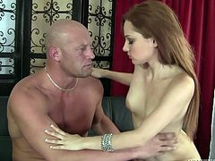 When brunette cutie Jennifer is seduced by her pal's dad, she doesn't hesitate to say yes. She quickly undresses for him, but suddenly feels a bit apprehensive, when he reveals his enormous cock. Being the adventurous girl, she gamely opens her mouth to try and swallow this giant dong.