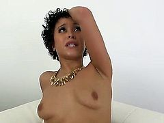 Curly haired latina Mia Austin with small boobs gives mouth job in the middle of the room and then takes dude's love torpedo up her smoothly shaved twat. Mia Austin loves cock riding!