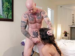 Buck Angle is a trans dude with a pussy, but today he has on a strap on so he can fuck the tight asshole of sensual shemale babe Tori. He bends her over and fucks that hole so hard. Her dick gets harder and harder as she is plowed. He nipples are perky as he sucks on them.