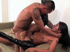 It was destiny that lead Destiny to this hardcore anal threesome today. When she walked into the room with her black latex kneehigh boots on, both the men in the room immediately wanted to fuck her. Destiny being the cock loving chick that she is, immediately got down on her knees to suck one stud off as the other tongued her sweet asshole. It didnt take long for both men to want to be inside her and Destiny was more than ready for their double penetration.