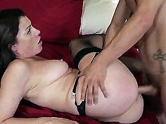 Brunette bimbo wife gets upset over her husband and decides that the best way to let some steam off is to fuck some guy in lingerie. Getting her pussy slammed in doggy really let some steam off.