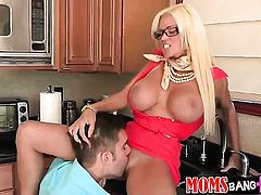 Blonde Rikki Six with gigantic melons and hairless snatch is curious about playing with her love hol