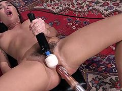 Solo sexy times are never boring for Karlee, especially when she busts out her shiny toys! Lying on the carpet, her legs spread wide, a sex machine rams itself in and out of her wet pussy. Stroking her trembling clit with a big vibrator at the same time, she brings herself to a mind-blowing orgasm.