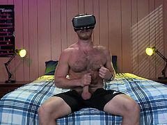 He puts on his VR headset and has himself a really good stroke off session. When he is in the virtual world he can imagine being sucked off and fucked by a hunky gay stud. Who needs the real world when he can have virtual sex this good?