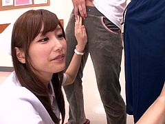 This sexy Japanese nurse wants to make sure that these patients have working cock. They have to drop their pants in front of her and stroke off. She wants to watch them jizz. The cutie gave them handjobs and made them cum hard.