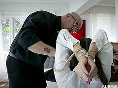 This pastor reads strange sermons and conducts some strange rituals. Just look how he helps this inexperienced schoolgirl to get rid of the sins. It seems, she will be punished by his huge dick. Hot stuff!