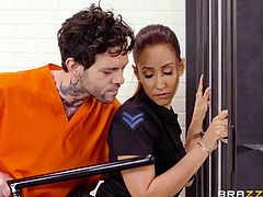The warder in prison can not afford to be inattentive, because inattention can cost him his life or... Watch busty milf sucking fat cock behind bars, because she was not attentive enough and now she is in the power of the prisoner.