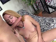 Sexy granny gets naked and rubs her pussy Then she sucks a stiff and long dick Later she takes it in her pussy and get fucked so good
