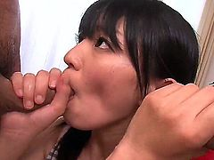 This young Asian chick that goes by the name of Konoha is only soft on the outside. She's actually a bimbo that can handle cocks well as displayed in this double blowjob