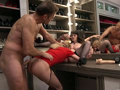 Natty Mellow and Bree Haze are happy to ride a hunk's dick