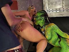 She came from outer space and she is hungry for ding dongs! Eva Parcker is going to suck and get fucked so hard she won't wish to go back to alien cocks anymore.