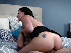 Milf Danica likes to give sloppy blowjobs and try all sorts of wild positions in bed with her man. She slobbers all over his cock and takes his meaty dick in her cunt hard from behind. They like it rough and he pulls her hair while he plows her so hard.