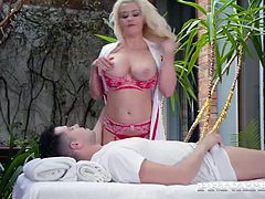 After some intense deep throat and a wild face fucking, this slut stretches out that tight pussy to take a hardcore blasting...