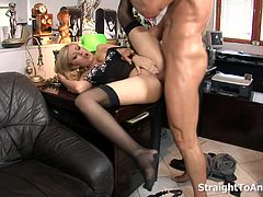 Caught by her boss, she got what she wished for! With his boss' big hard cock drilling thru her tight anal.