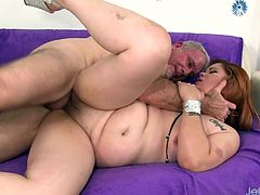 Sexy plumper gets kissed on her belly and ass licked She gives an amazing blowjob Then lets him fuck her plump pussy deep and hard in many positions He cuts in her mouth