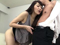 Milf Nanami passionately licks her man's nipples and slobbers all over his hairy cock. This Japanese milf really knows how to please a man. She gets on his dick and rides him, until he is ready to cum. She might even let him cum inside of her.