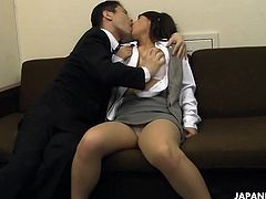 Asian secretary is drilled and facialized in her business at