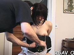 Hard thrashing and tit punishment