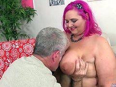 Big and bulky BBW gets kissed on her tits and ass Then she gives a nice blowjob After that she takes the dick in her pussy and get fucked in many positions The guy spills cum over her tits