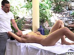Take a look at this brown honey with the sweet ass. He loves her so much that he massages her and rubs his hands all over her cunt. This made her horny so she had to suck on his rock hard erection. This is very hot.
