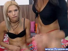 A horny and sexy blonde tranny gets fun and dirty time with her tranny lover. See her friend stand behind in front of her with her erect cock and she gets inside her quick. She raises her legs and she rams her fast and good feeling her tight and wet ass. They then positioned themselves into a dogstyle position and the brunette tranny fucks her friend so hard from behind. The horny tranny moans so good as she gets a non stop ass fucking. She thrusts her hips into her penetrating into her so fast and so good.